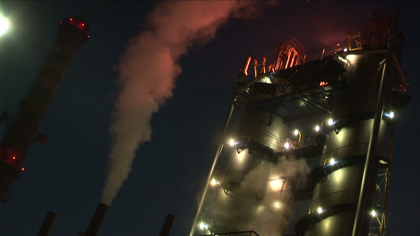 Factory at night  - HD stock footage clip