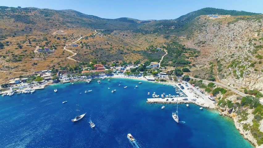 Aerial drone footage of the Greek coastline and a port off the island of Zakynthos..  | Shutterstock HD Video #22754428