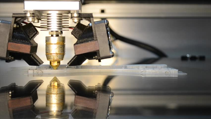 Close-up of 3D printer to print the model mirror surface. Video with sound | Shutterstock HD Video #22788025