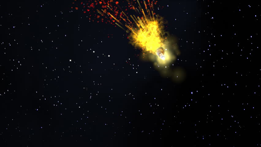 Comet. Explosion in the space. Celestial body, asteroid, comet in the cosmos.  #22861150