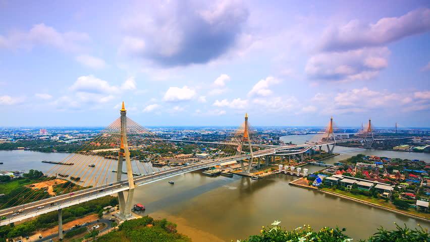Time lapse Bangkok city suspension bridge across Chao Phraya River in Thailand    Shutterstock HD Video #22923088