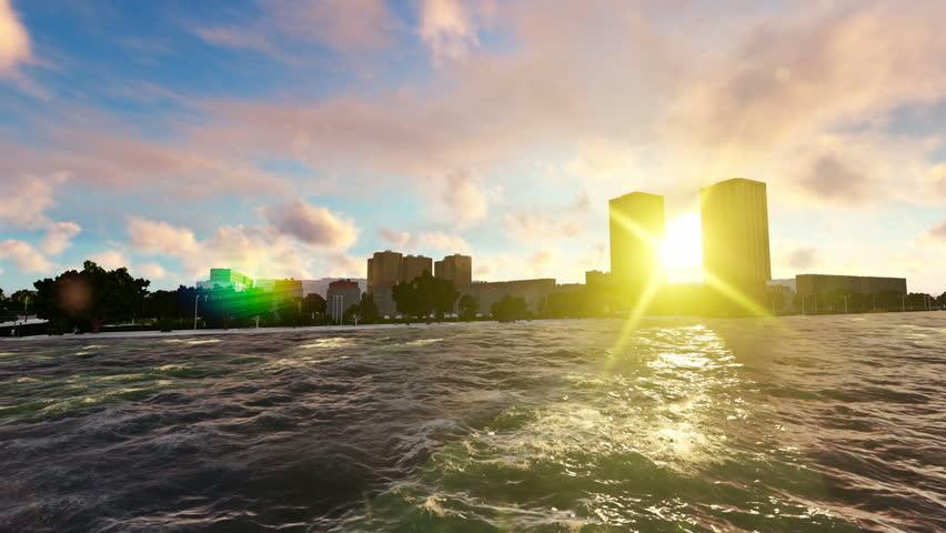 Cruise Ship Salling At Beautiful Sunset Sun Shine Between The Buildings   Shutterstock HD Video #22925221