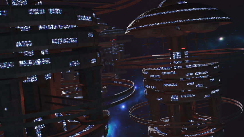 Fly through a fleet of futuristic space stations 4K | Shutterstock HD Video #23023825