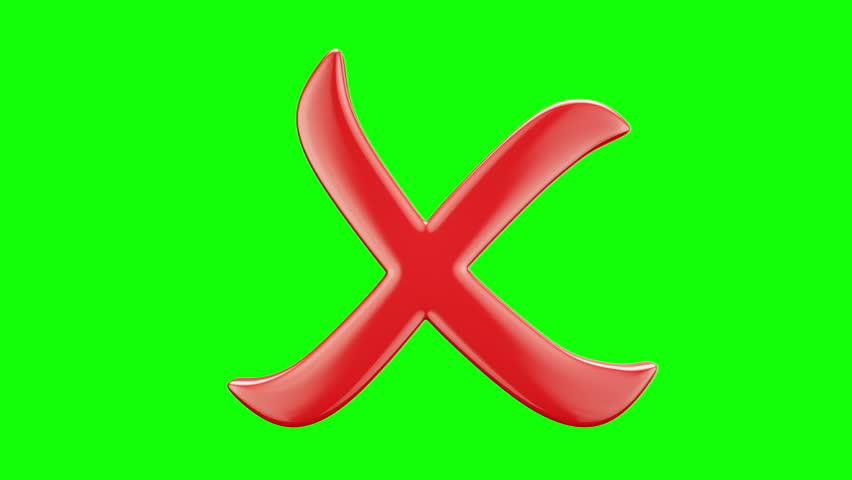 """Isolated red """"Cross Mark"""" symbol rotating on the green screen. Seamless loop animation. Alpha matte channel included. Another symbols available - check my profile.   Shutterstock HD Video #23039260"""