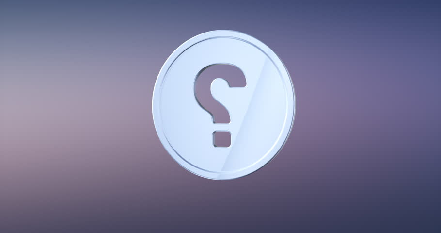 Animated Question Badge Silver 3d Icon Loop Modules for edit with alpha matte | Shutterstock HD Video #23055901