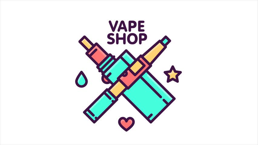 Vape shop graphic line art style HD cartoon logo animation. | Shutterstock HD Video #23153038