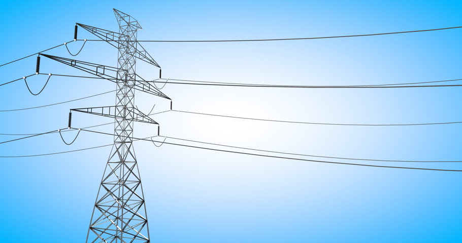 3D animation moving down electrical powerline with bright background. | Shutterstock HD Video #23162128