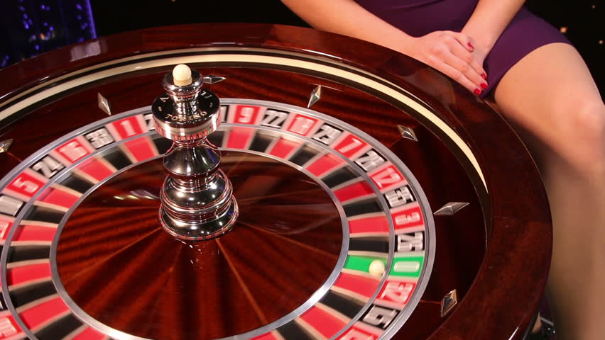 Spinning roulette wheel at a casino has casino horseshoe travel