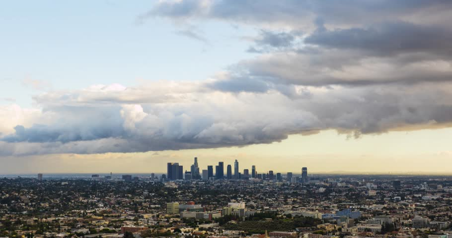A time lapse shot of downtown Los Angeles and the city by the sunset hour with clouds passing quickly  | Shutterstock HD Video #23172217
