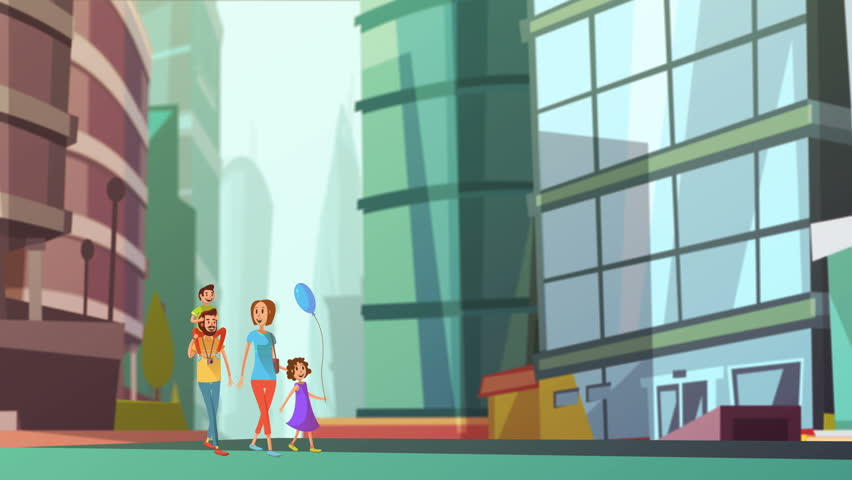 Happy family walk video animation footage | Shutterstock HD Video #23174863