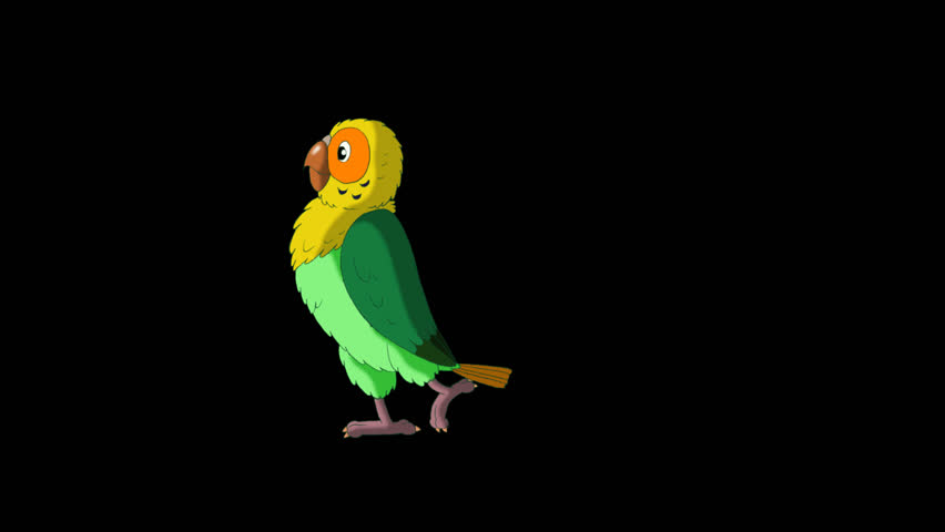 Green Parrot Walks and Stops. Animated footage with alpha channel.  | Shutterstock HD Video #23184835