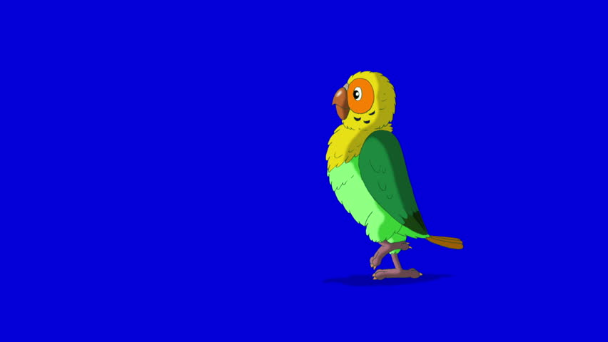 Green Parrot Walks and Stops. Animal on Blue Screen. Looped motion graphic. | Shutterstock HD Video #23184853