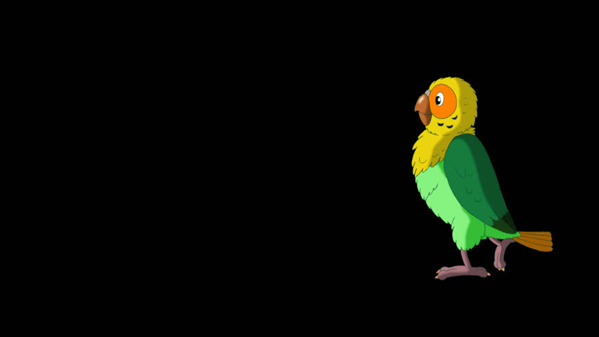 Green Parrot Walks. Animated footage with alpha channel. Looped motion graphic. | Shutterstock HD Video #23184862