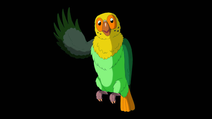 Green Parrot Greets. Animated footage with alpha channel. Looped motion graphic. | Shutterstock HD Video #23184871
