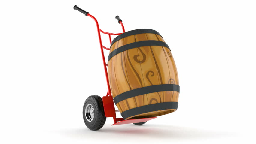 Barrel with hand truck isolated on white background. Wine transport concept | Shutterstock HD Video #23190730