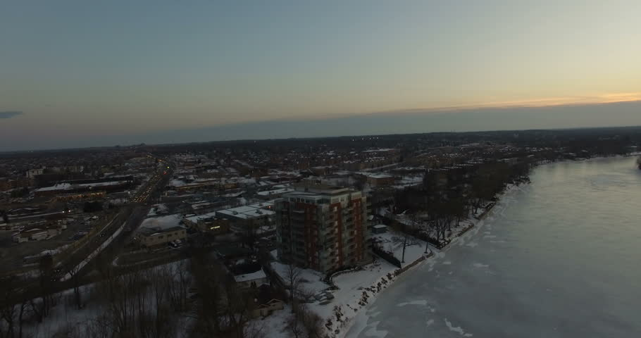 Aerial winter landscape by the shore in Montreal, Canada    Shutterstock HD Video #23206201