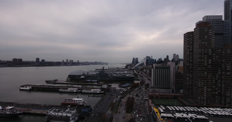 Aerial view of the west side of Manhattan.    Shutterstock HD Video #23207839