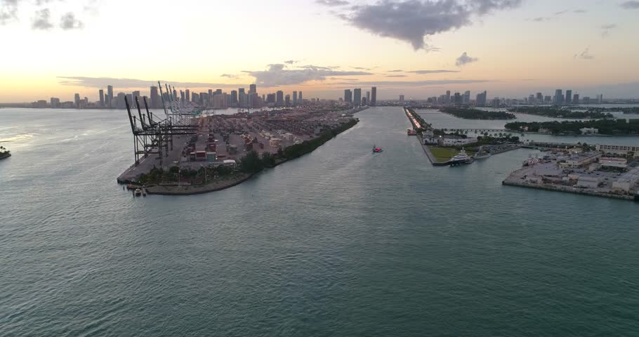 Aerial drone footage Port Miami at dusk   Shutterstock HD Video #23209441