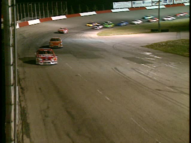 stock car race from starters cage, night race (BetacamSP, good audio)