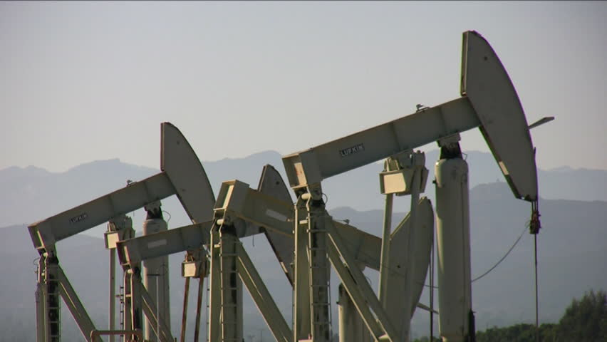 Four oil pumps - HD stock video clip