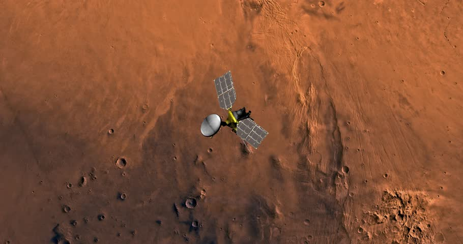 Top view of Mars Reconnaissance Orbiter in orbit above Phoenicis Region. Clip is reversible and can be rotated 180 degrees. Elements of this image furnished by NASA | Shutterstock HD Video #23549893