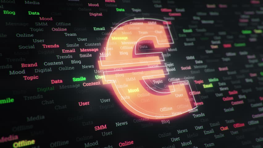 Technological background with changing words about technologies, social nets, business and money, communication and social marketing. Symbol of money with glowing glass surface. Seamless loop.   Shutterstock HD Video #23607124