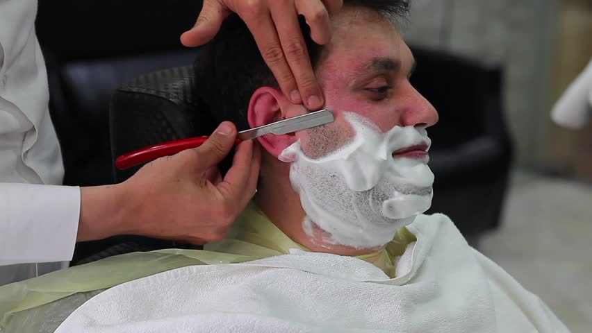 barbershop shave beard  - HD stock video clip