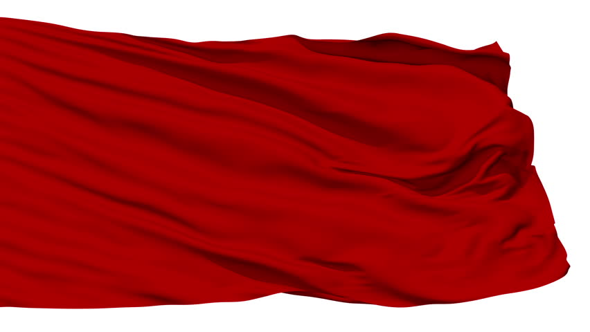 Red blank flag waving in the wind against white background