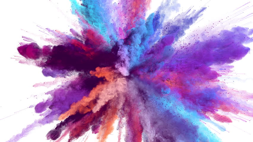 Cg animation of powder explosion with blue, red, orange and violet colors on white background. Slow motion movement with acceleration in the beginning. Has alpha matte.
