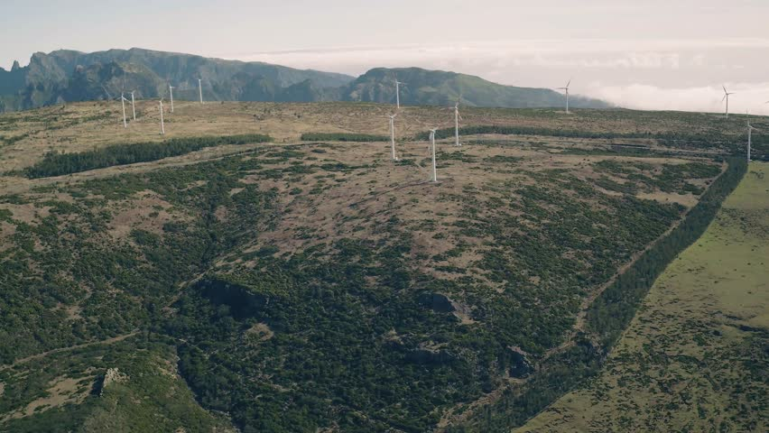 Aerial View of Energy Producing Wind Turbines, Madeira Portugal | Shutterstock HD Video #23861329
