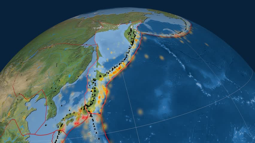Okhotsk tectonics featured. Satellite imagery. Plate extruded and animated against the globe. Tectonic plates borders (newest division), earthquakes by strength & volcanic cones | Shutterstock HD Video #23960635