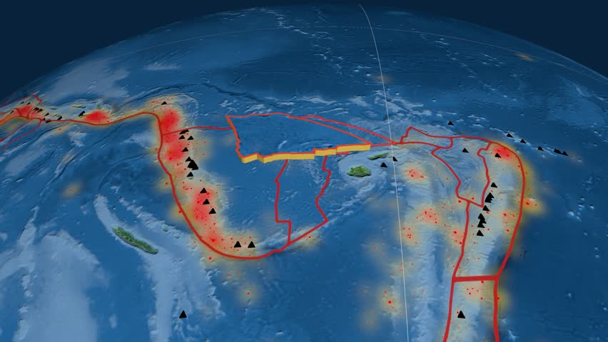 Balmoral Reef tectonics featured. Topography. Plate extruded and animated against the globe. Tectonic plates borders (newest division), earthquakes by strength & volcanic cones | Shutterstock HD Video #23961229