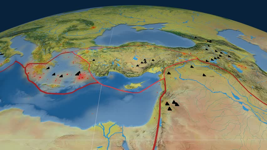 Anatolia tectonics featured. Topography. Plate extruded and animated against the globe. Tectonic plates borders (newest division), earthquakes by strength & volcanic cones | Shutterstock HD Video #23961400