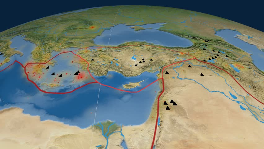 Anatolia tectonics featured. Satellite imagery. Plate extruded and animated against the globe. Tectonic plates borders (newest division), earthquakes by strength & volcanic cones | Shutterstock HD Video #23961427