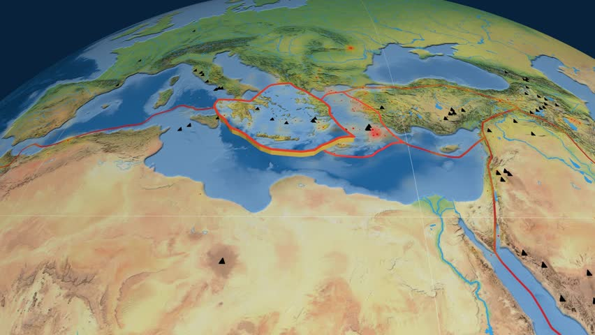 Aegean Sea tectonics featured. Natural Earth. Plate extruded and animated against the globe. Tectonic plates borders (newest division), earthquakes by strength & volcanic cones | Shutterstock HD Video #23961454