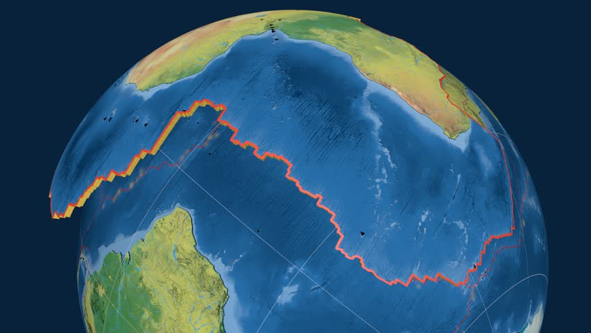 Africa tectonics featured. Topography. Plate extruded and animated against the globe. Tectonic plates borders (newest division), earthquakes by strength & volcanic cones | Shutterstock HD Video #23961481