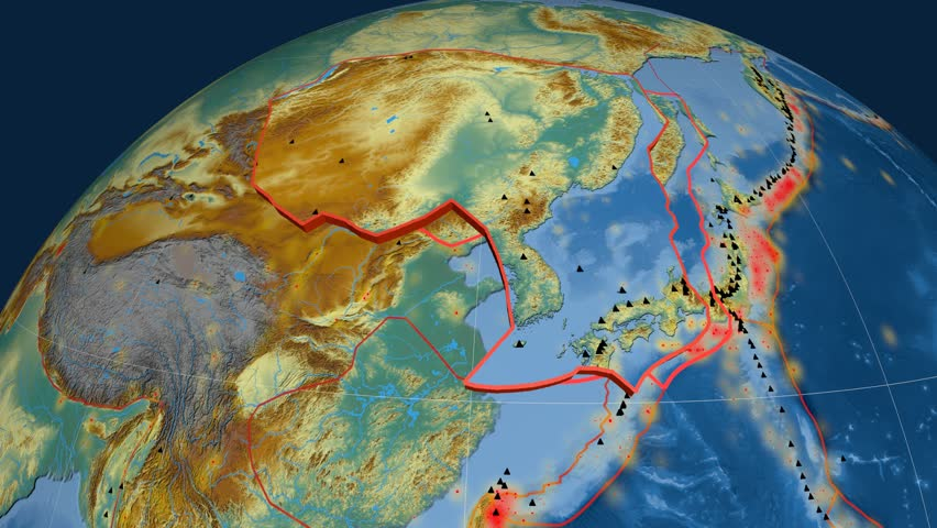 Amur tectonics featured. Relief. Plate extruded and animated against the globe. Tectonic plates borders (newest division), earthquakes by strength & volcanic cones | Shutterstock HD Video #23961508