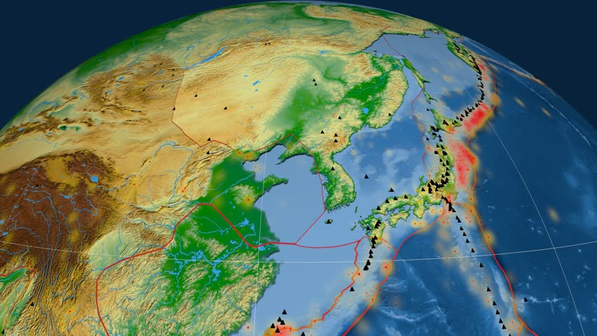 Amur tectonics featured. Physical. Plate extruded and animated against the globe. Tectonic plates borders (newest division), earthquakes by strength & volcanic cones | Shutterstock HD Video #23961598