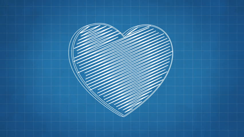 Hand drawn heart symbol rotating on the blueprint paper. Seamless loop animation.  | Shutterstock HD Video #24019198