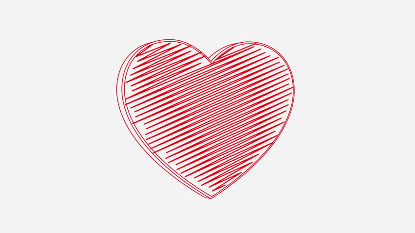 Isolated hand drawn red heart symbol rotating on the white background. Seamless loop animation.  | Shutterstock HD Video #24019207