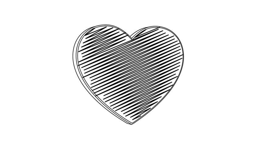 Isolated hand drawn heart symbol rotating on the white background. Seamless loop animation.  | Shutterstock HD Video #24019216