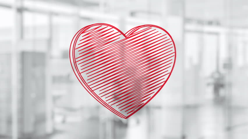 Hand drawn heart symbol rotating on the glass board. Painted by red marker (Felt Tip Pen). Seamless loop animation.  | Shutterstock HD Video #24019225