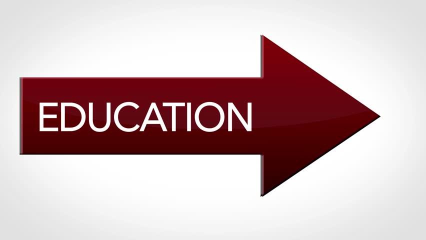 Arrow flies from offscreen with text   Education | Shutterstock HD Video #24027271