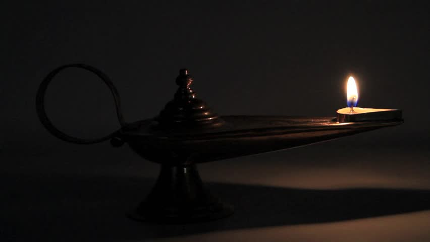 Oil lamp in the dark - HD stock footage clip