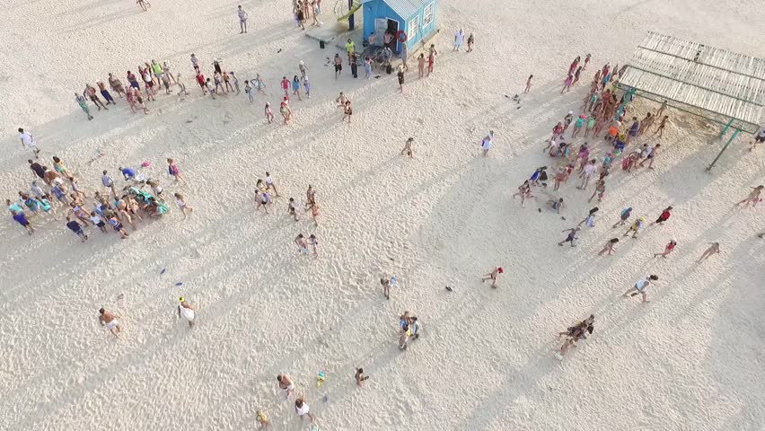 Beach crowd during summertime.aerial photography | Shutterstock HD Video #24103996