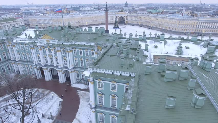 Winter palace Hermitage museum in Saint Petersburg Russia. Baroque architecture. Palace square Alexander column with angel. Winter day, dramatic mood. 4k drone aerial footage. Close flight over.  | Shutterstock HD Video #24106858