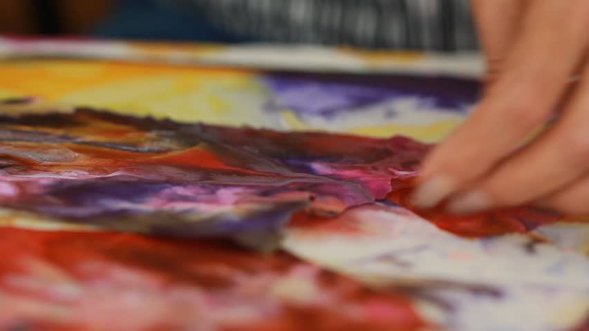 Artist in her art studio paint brushes and ink paintings | Shutterstock HD Video #24113131