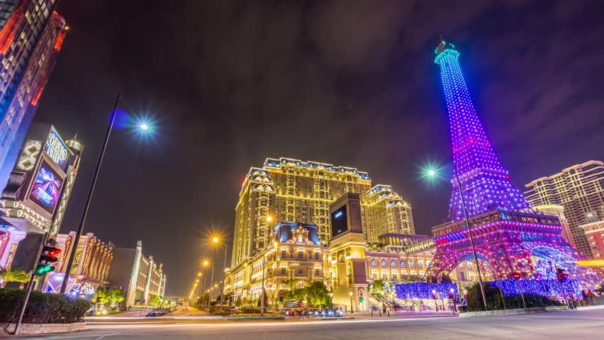 Night paris style macau taipa famous hotel tower panorama 4k time lapse china   Shutterstock HD Video #24116065