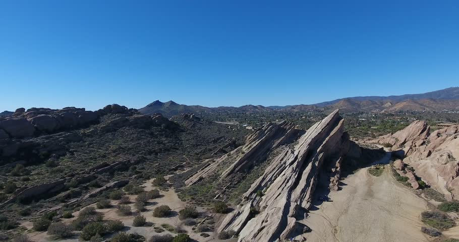 Aerial Drone View of Rock Formations at Vasquez Rocks State Park in 4k 24 fps | Shutterstock HD Video #24116434