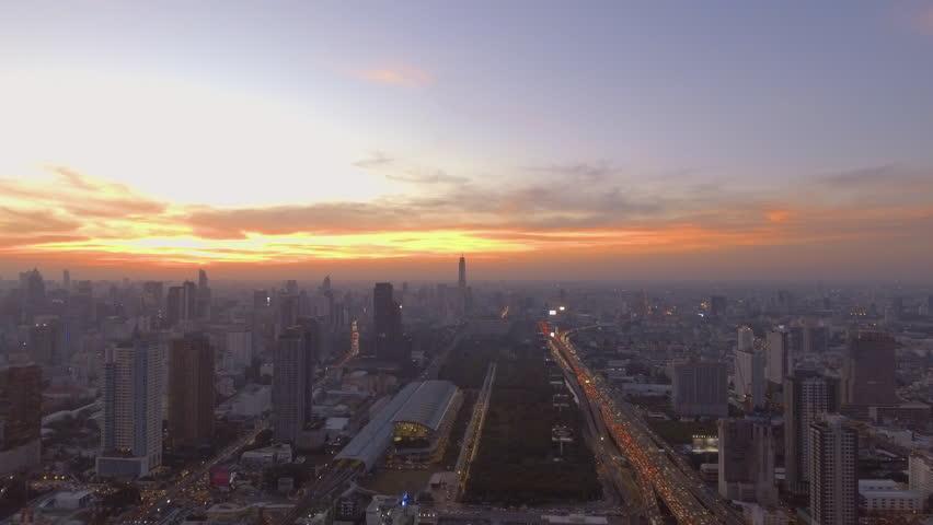 Aerial shot of sunset at urban skyline Bangkok city Thailand   Shutterstock HD Video #24123877